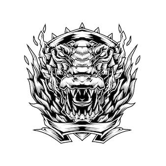 Corocodile line art illustration Vetor Premium