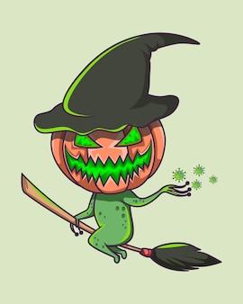 Corona assustador de halloween verde brilhante voando em uma vassoura
