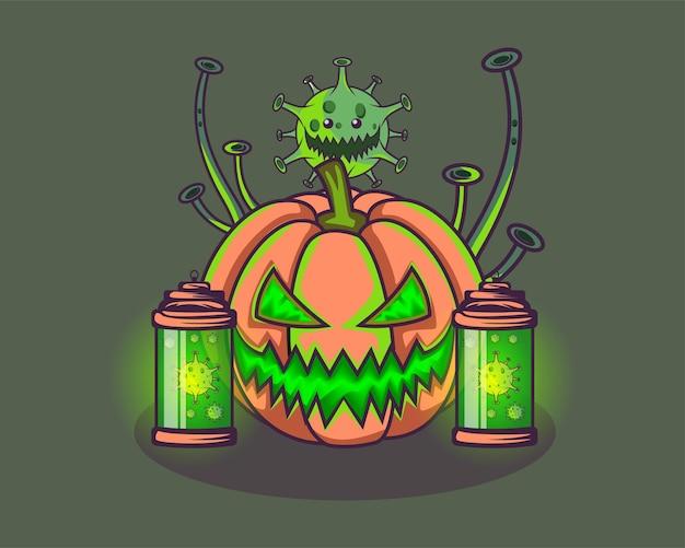 Corona de halloween com um vírus assustador verde brilhante