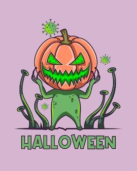 Corona de halloween com um vírus verde brilhante