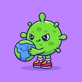 Corona virus holding sad earth cartoon icon ilustração. conceito de ícone saudável de pessoas isolado. estilo flat cartoon