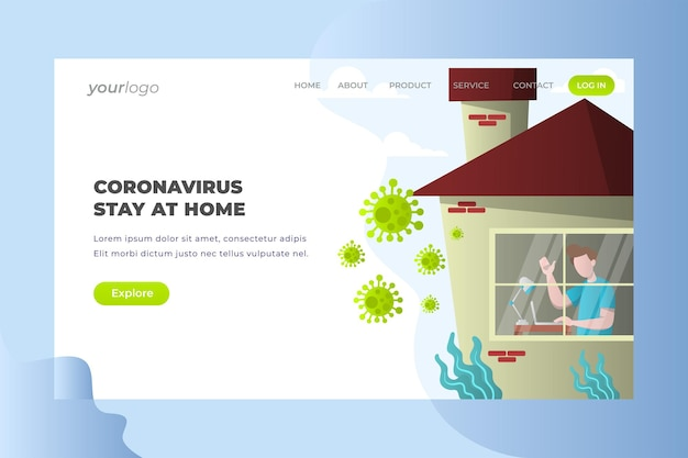 Corona virus stay at home - vector landing page