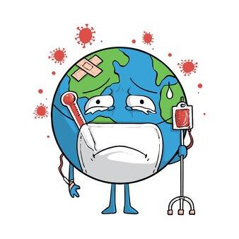 Corona vírus terra personagem mundo gráfico ilustração