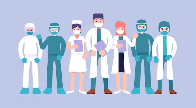 Coronavírus 2019, grupo de médicos, personagens de médicos em máscara médica branca, conceito stop coronavirus, equipe médica médico enfermeira terapeuta cirurgião profissionais trabalhadores hospitalares