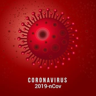 Coronavírus 2019-ncov com células da doença e glóbulos vermelhos. infecção por vírus ou fundo de doença bacteriana, surto de vírus covid-19 corona e conceito de risco médico para pandemia