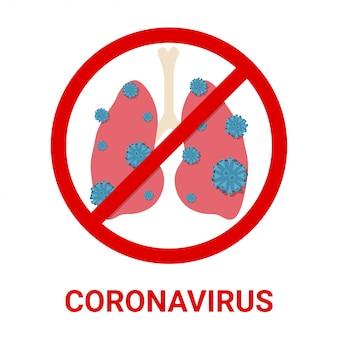 Coronavírus 2019-ncov com pulmão e ilustração de sinal proibido