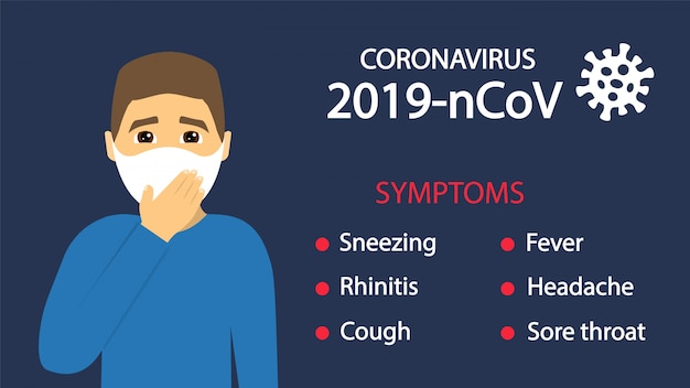 Coronavírus 2019-ncov. sintomas coronavírus. vírus perigoso, pandemia.