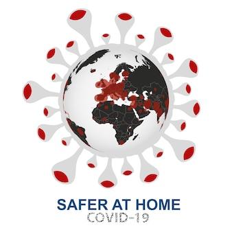 Coronavirus ataca o mundo, globo com visualização do vírus covid-19 na europa, áfrica e oriente médio, ilustração vetorial.