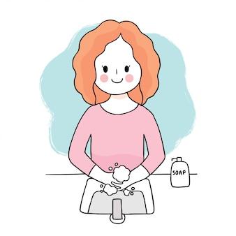 Coronavírus bonito dos desenhos animados, covid-19, mulher lavar as mãos