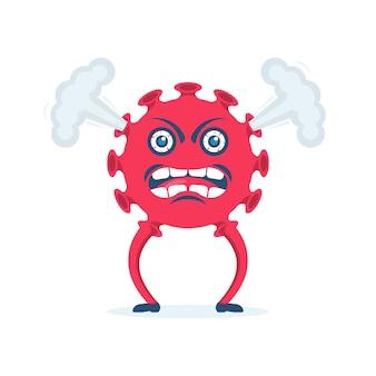 Coronavírus com raiva. caricatura de vírus com olhos vermelhos de raiva