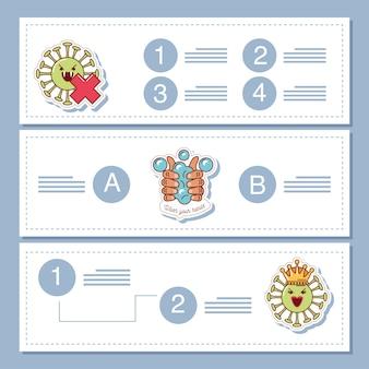 Coronavírus covid 19, banners de infográfico com ícone de adesivo de ilustração de medidas de prevenção