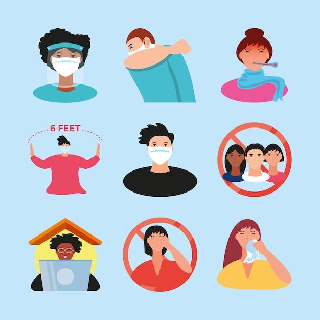 Coronavírus covid 19 ícones de prevenção definem distância social