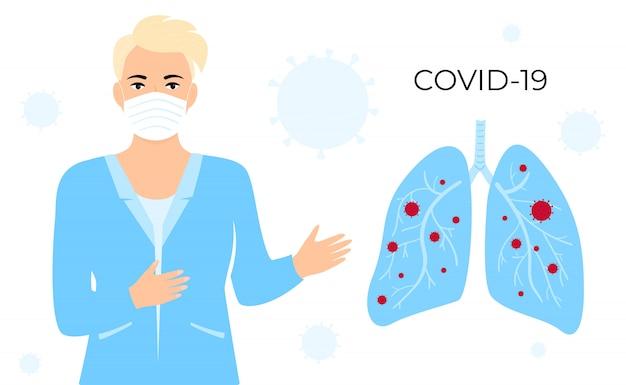 Coronavírus covid-19. médica na máscara protetora branca e casaco médico mostrando os pulmões infectados com vírus chinês.