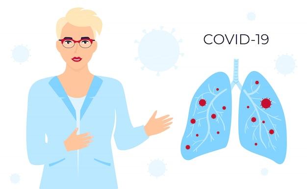 Coronavírus covid-19. uma médica de óculos e bata médica fala sobre o vírus chinês. pulmões infectados. banner horizontal. sintomas doença humana. resfriados e inflamação. pneumonia