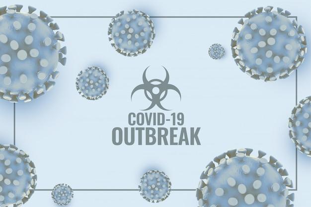 Coronavirus covid19 fundo surreal com célula de vírus 3d