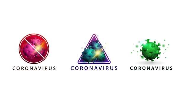 Coronavírus de coleção isolado, sinais de aviso com moléculas, moléculas de coronavírus rosa, azul e verde