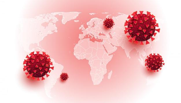 Coronavírus. fundo horizontal com doenças celulares e mapa do mundo