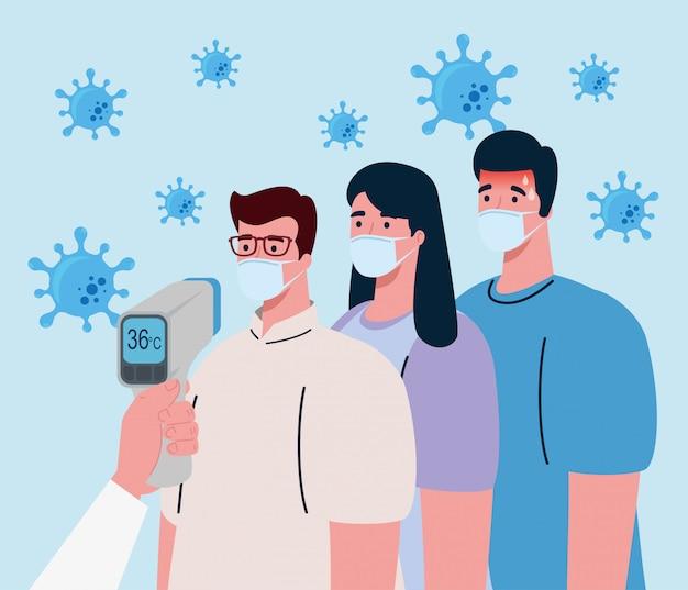 Coronavírus, mão segurando o termômetro infravermelho para medir a temperatura corporal, as pessoas verificam a temperatura