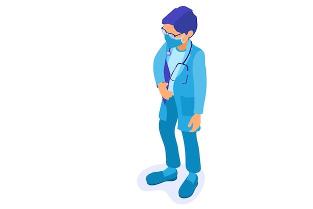 Coronavírus. médico com máscara com estetoscópio e área de transferência para o coronavírus.