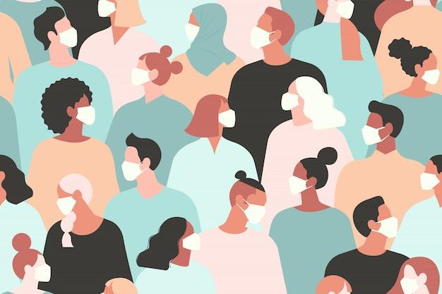 Coronavírus na china. novo coronavírus 2019 ncov, pessoas com máscara facial médica branca. conceito de quarentena de coronavírus, padrão sem emenda