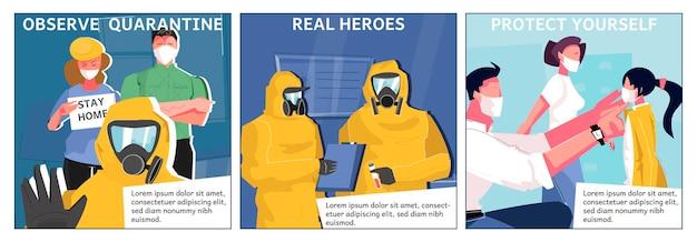 Coronavírus pandêmico com ilustrações quadradas de texto e personagens humanos em máscaras faciais e ternos químicos