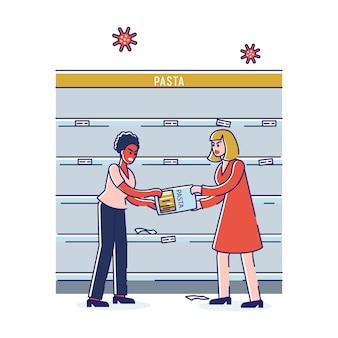 Coronavirus pânico comprando mulheres que brigam com raiva