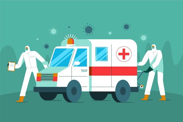Coronavírus para ambulância de emergência