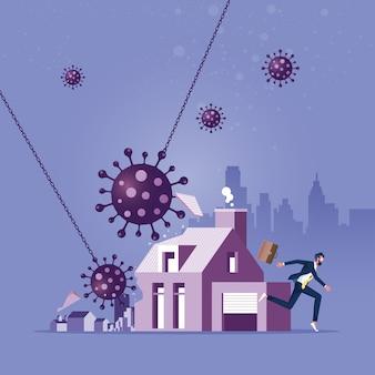 Coronavírus quebrando uma casa como uma metáfora para uma crise hipotecária relacionada a uma pandemia