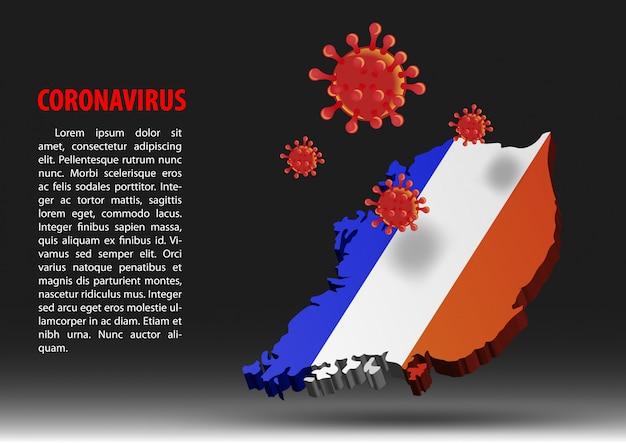 Coronavírus sobrevoar o mapa da frança dentro da bandeira nacional