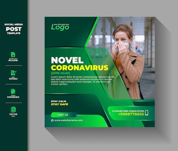 Coronavirus social media post square banner covid 19 vírus corona