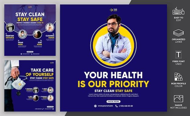 Coronavirus social media post template vector.medical template pode ser usado para publicidade.