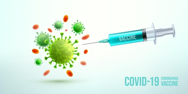 Coronavírus vacina e injeção de seringa com células da doença e glóbulos vermelhos. ferramenta de injeção com seringa azul para o tratamento de imunização covid19.