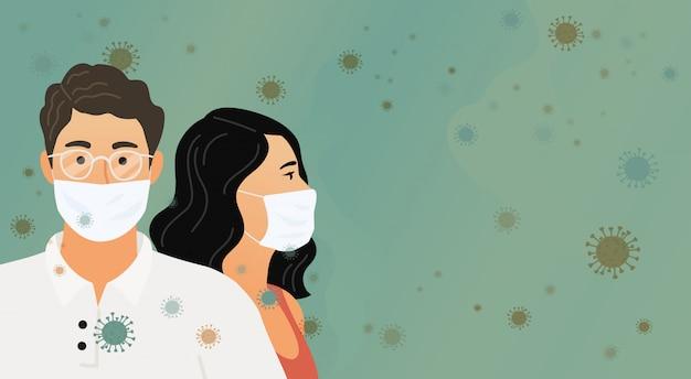 Coronavírus . wuhan novel. mulheres e homem em máscaras protetoras médicas contra um fundo de vírus, bactérias e microorganismos. ilustração