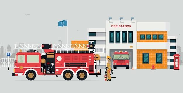 Corpo de bombeiros com bombeiro e caminhão de bombeiros com fundo cinza.