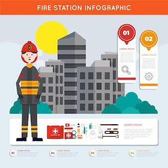 Corpo de bombeiros de design plano