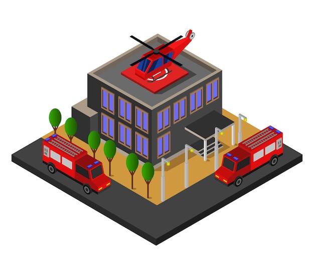 Corpo de bombeiros isométrico