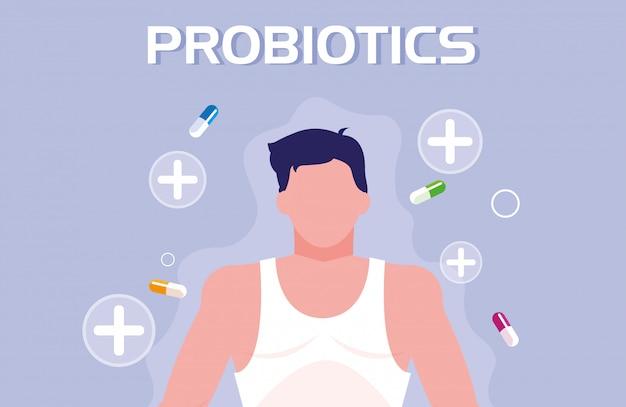 Corpo de homem com cápsulas medicamentos probióticos