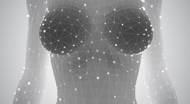Corpo feminino 3d de pontos e triângulos em um fundo branco