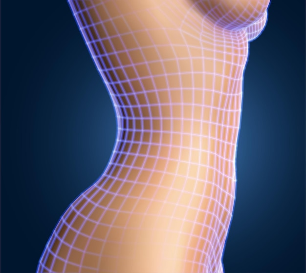 Corpo feminino na cor de fundo. malha foto-realista