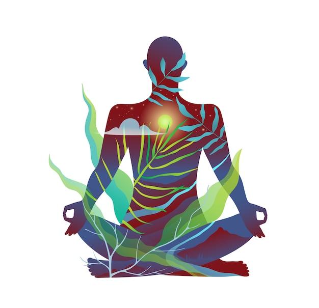 Corpo humano na meditação da natureza e design abstrato de prática de ioga