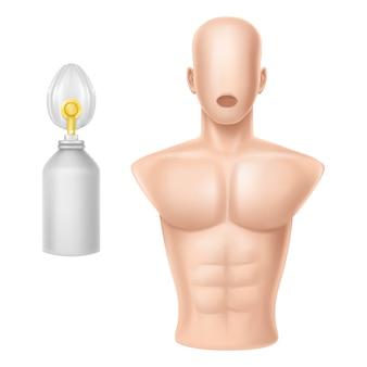 Corpo humano para treinamento de respiração artificial