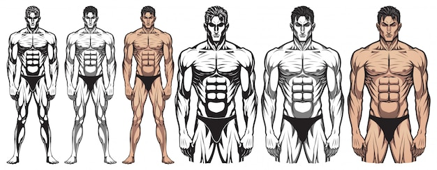 Corpo inteiro do bodybuilder masculino