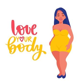 Corpo positivo. ame seu corpo. plus size mulher vestida em trajes de banho.