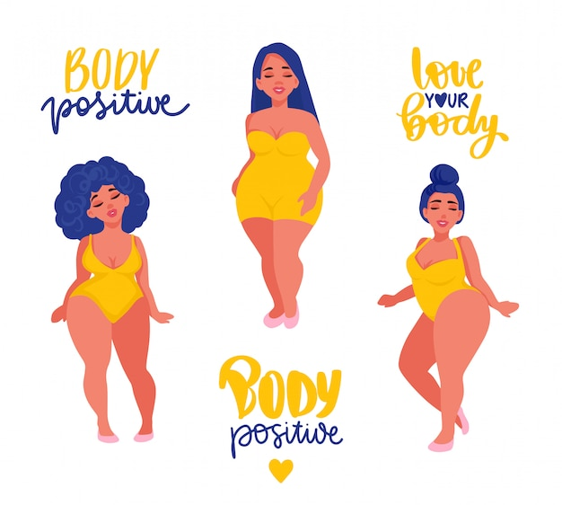 Corpo positivo, coleção de etiqueta do feminismo. ame seu corpo slogan de ativistas, frase motivacional de mulher