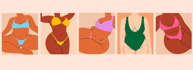 Corpo positivo. felizes garotas plus size. ilustração vetorial. meninas do estilo cartoon