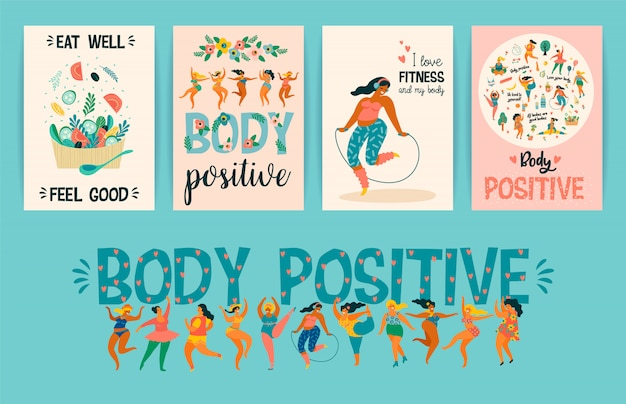 Corpo positivo. felizes plus size meninas e estilo de vida ativo e saudável.