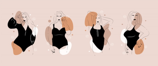 Corpo positivo. figura feminina minimalista abstrata.