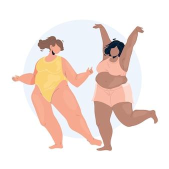 Corpo positivo jovem casal dançando vetor. meninas com confiança e positividade corporal em lingerie dançam juntas. personagens lady funny happy time flat cartoon ilustração