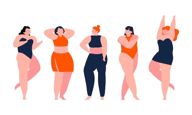 Corpo positivo - meninas felizes admirando seus corpos. ame a si mesmo. amo o seu conceito de corpo