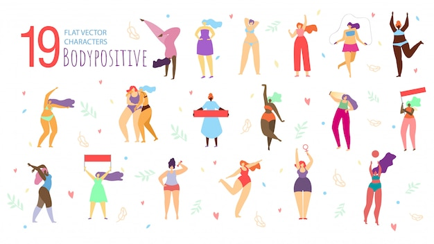 Corpo positivo mulheres caracteres plana vector set